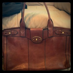 Large leather Fossil Tote